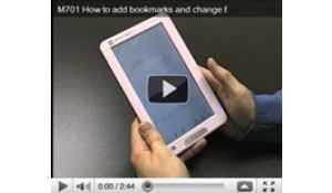 M701 How to add bookmarks and change font size